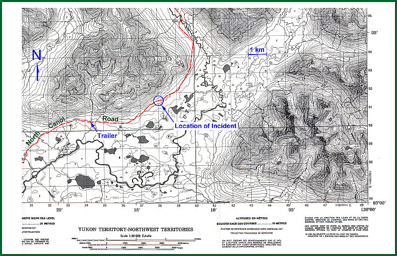 Abduction on the North Canol Road location map